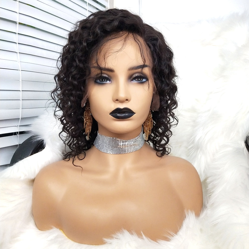 d144d22f195 COLODO Virgin Human Hair Curly 13x6 Lace Front Wigs For Black Women Nature  Color