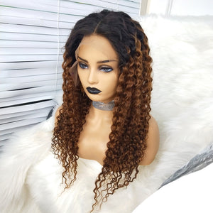 COLODO 100% Human Hair 13x6 Lace Front Wigs Deep Wave Brown Ombre Black Wigs for Women