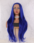 Sapphire Blue High Temperature Fiber Deep U Full Hair Wigs Long Natural Straight Synthetic Lace Front Wig For Women