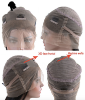 The wig cap is lace all-around and top are machine wefts.