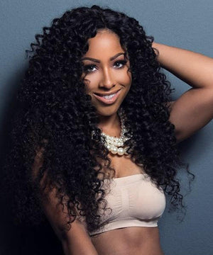 The model wears 360 Lace Front Wigs Human Virgin Brazilian Hair Natural Kinky Curly ZY-6.