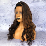 """Boss Lady"" Long Black Wig With Brown Highlights [HW029]"