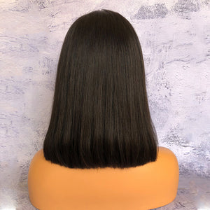 Promotion ISSA Black Bob 13x6 Lace Front Wig Straight Indian Virgin Hair [HW017]