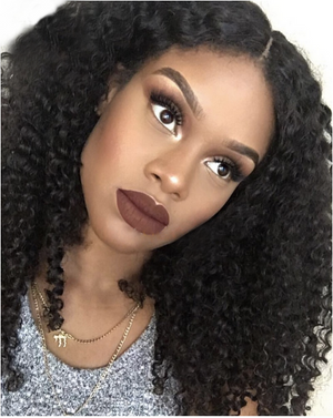 Natural Color Kinky Curl Indian Virgin Hair 13*4 Lace Front Wigs High Quality Human Hair Wig-modol's picture