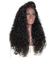 The model wears Baby Hair Deep Curly 13*6 Lace Front Human Hair Wigs.