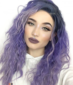 COLODO Lavender Purple  Lace Front Wigs for Women Synthetic Wig Wavy Hair