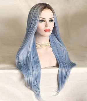 COLODO Ombere Water Blue Wigs for Women Synthetic Wig Long Straight