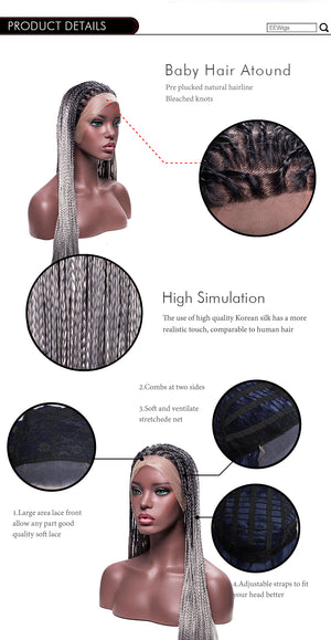 Silver Grey Ombre Braided Box Braids Wig Long Synthetic Lace Front Wigs For Women