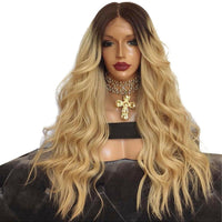 Synthetic Lace Front Wig Natural Long Natutral Wave Wigs Black Root Ombre Blonde 2 Tones Color Wigs Middle for Women Heavy Wigs
