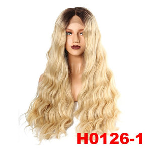 Synthetic Lace Front Wig Natural Long Wave Wigs Black Ombre Blonde Color Wigs for Women