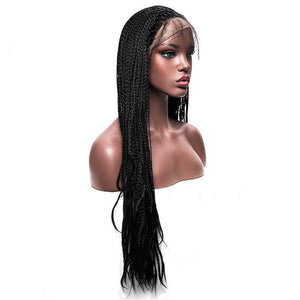 Long Black Braided Box Braids Wig Synthetic Lace Front Wigs For Women 30 inch