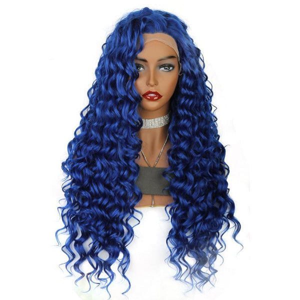 Synthetic Lace Front Wig Long Curly Blue Wigs Color Light Lace Natural Hair Frontal Free Parting For White Women Drag Queen