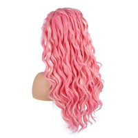 Peach Pink White Wig Wave Synthetic Lace Front Wigs Glueless Heat Resistant Hair Replace Everyday Wig Natural Hairline