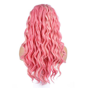 Peach Pink White Wig Wave Synthetic Lace Front Wigs Natural Hairline