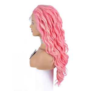 COLODO Peach Pink White Wig Wave Synthetic Lace Front Wigs Natural Hairline