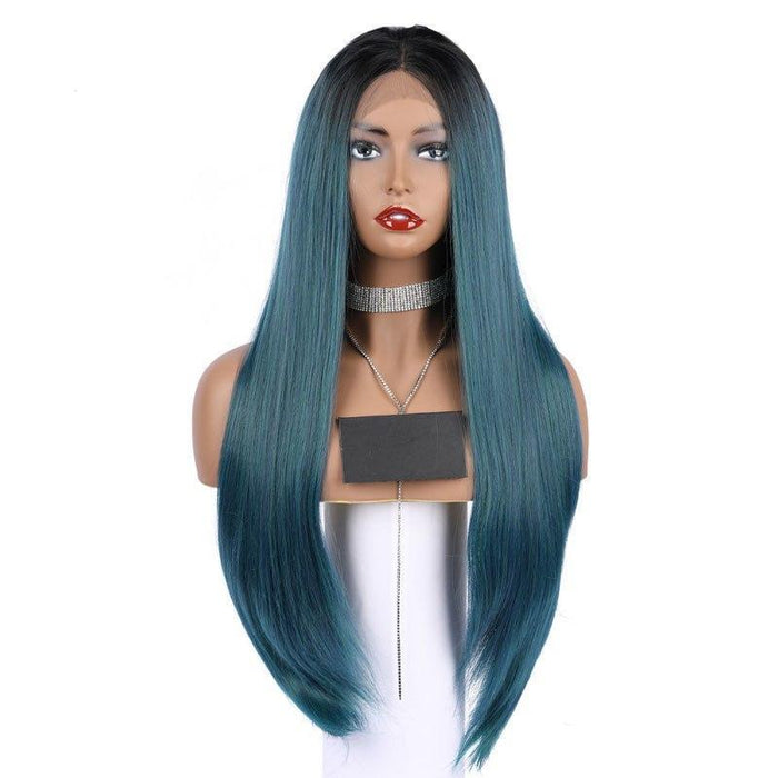 COLODO Synthetic Lace Front Wig Natural Long Silky Straight Wigs Black Ombre Green Color Wigs