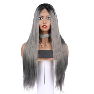 Synthetic Lace Front Wig Natural Long Silky Straight Wigs Black Root Ombre Grey Color Wigs