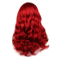 Long Natural Body Wave Wig Synthetic Lace Front Wig Auburn Copper Red Color Wig For White Women Drag Queen Cosplay