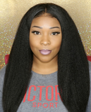 The model wears  13*4 Virgin Brazilian Human Hair Lace Front Wigs Kinky Straight Affordable Hair .