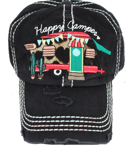 black happy camper hat leopard accents front view