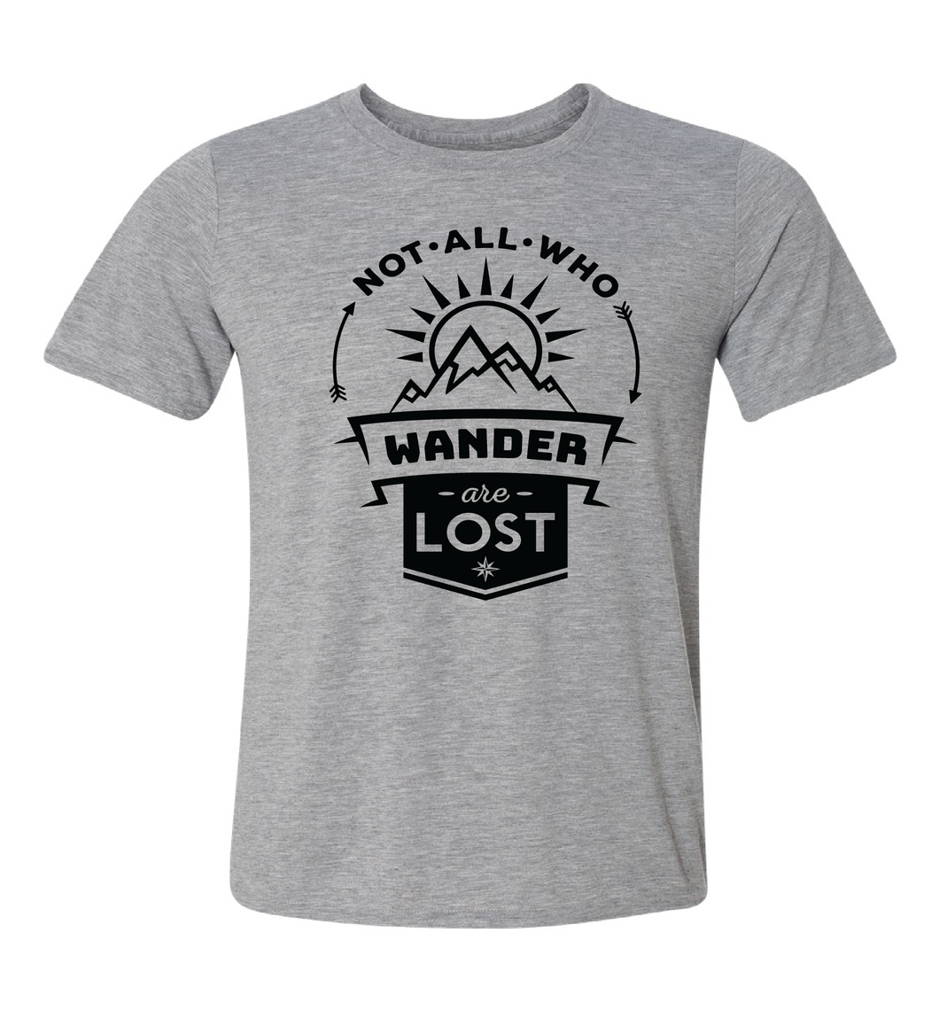 camping tee not all who wander are lost unisex gray
