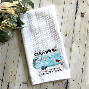 Kitchen Towel White Vintage Travel Trailer Turquoise