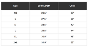 Bella Canvas t-shirt sizing chart