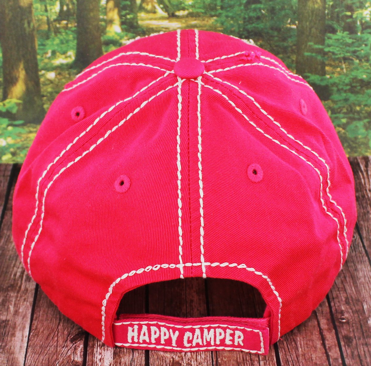 84e78be0d7760 hot pink happy camper cap embroidered patch  happy camper hot pink hat back