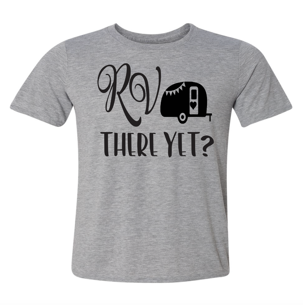 camping t-shirt rv there yet unisex gray