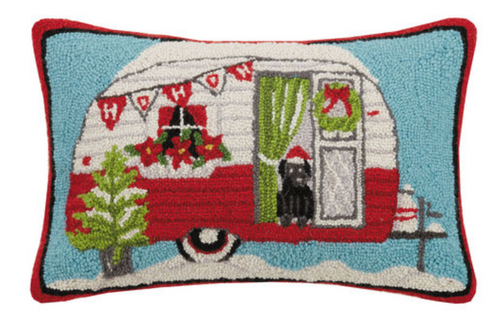 hooked wool pillow with red holiday camper 14 x 22 inches