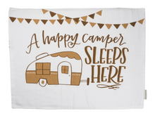 Standard pillowcase with happy camper design in tan on white