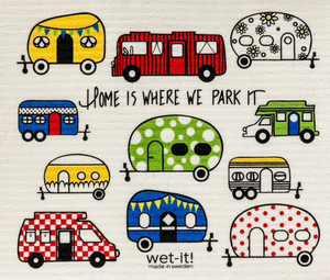 Wet-it cloths with campers and the words Home is where you park it
