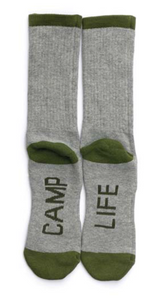 Camp life crew socks women's grey and green