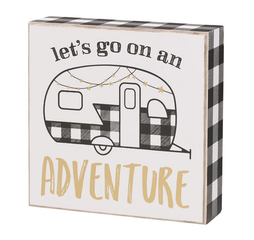 let's go on an adventure camping shelf sitter sign