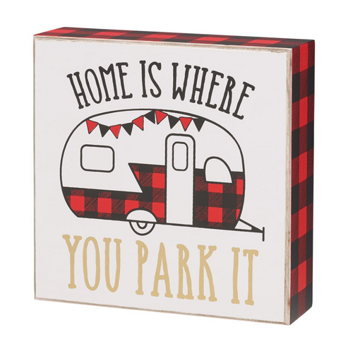 camping sign home is where you park it trailer red and black