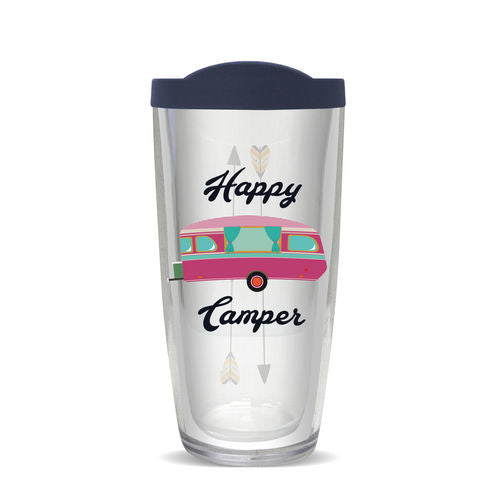 acrylic tumbler happy camper 16 ounces thermal insulated
