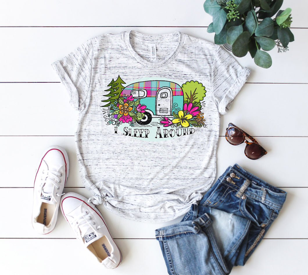 Camping t-shirt women I sleep around