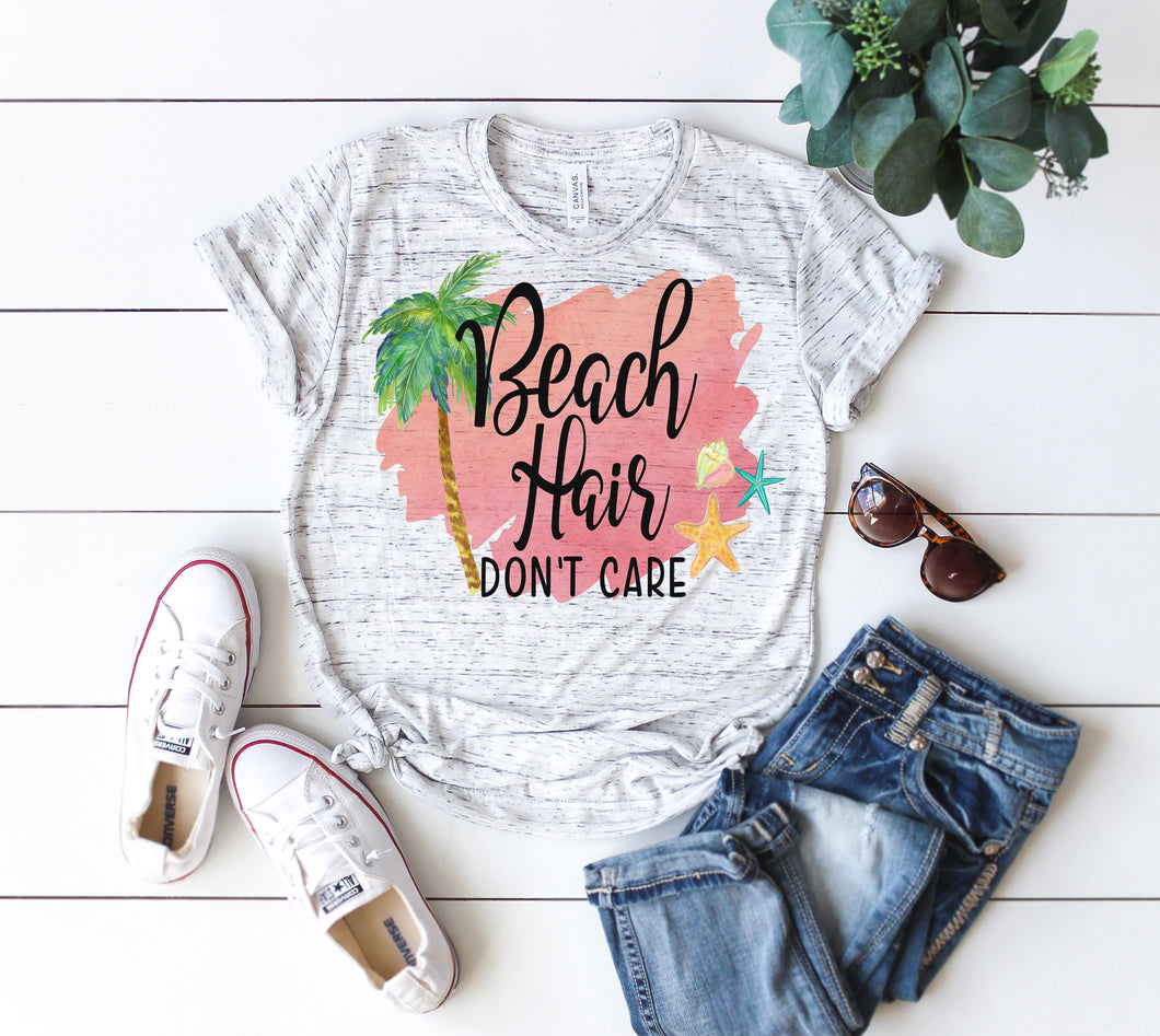 Ladies Camping T-shirt Beach Hair Don't care