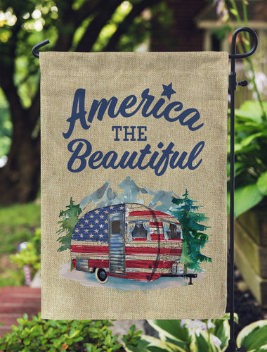 patriotic camper flag America the beautiful