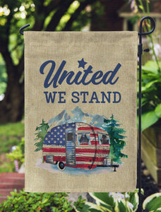 Patriotic Campsite Flag - United We Stand - 12 x 18 Faux Burlap - Garden Decor