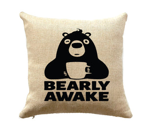 Gift for Outdoor Enthusiast and Coffee Lover Bear Pillow RV Decor