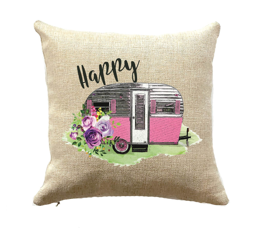 happy camper pillow pink vintage trailer