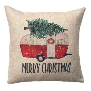 Christmas Camper Pillow Red Vintage Trailer Merry Christmas