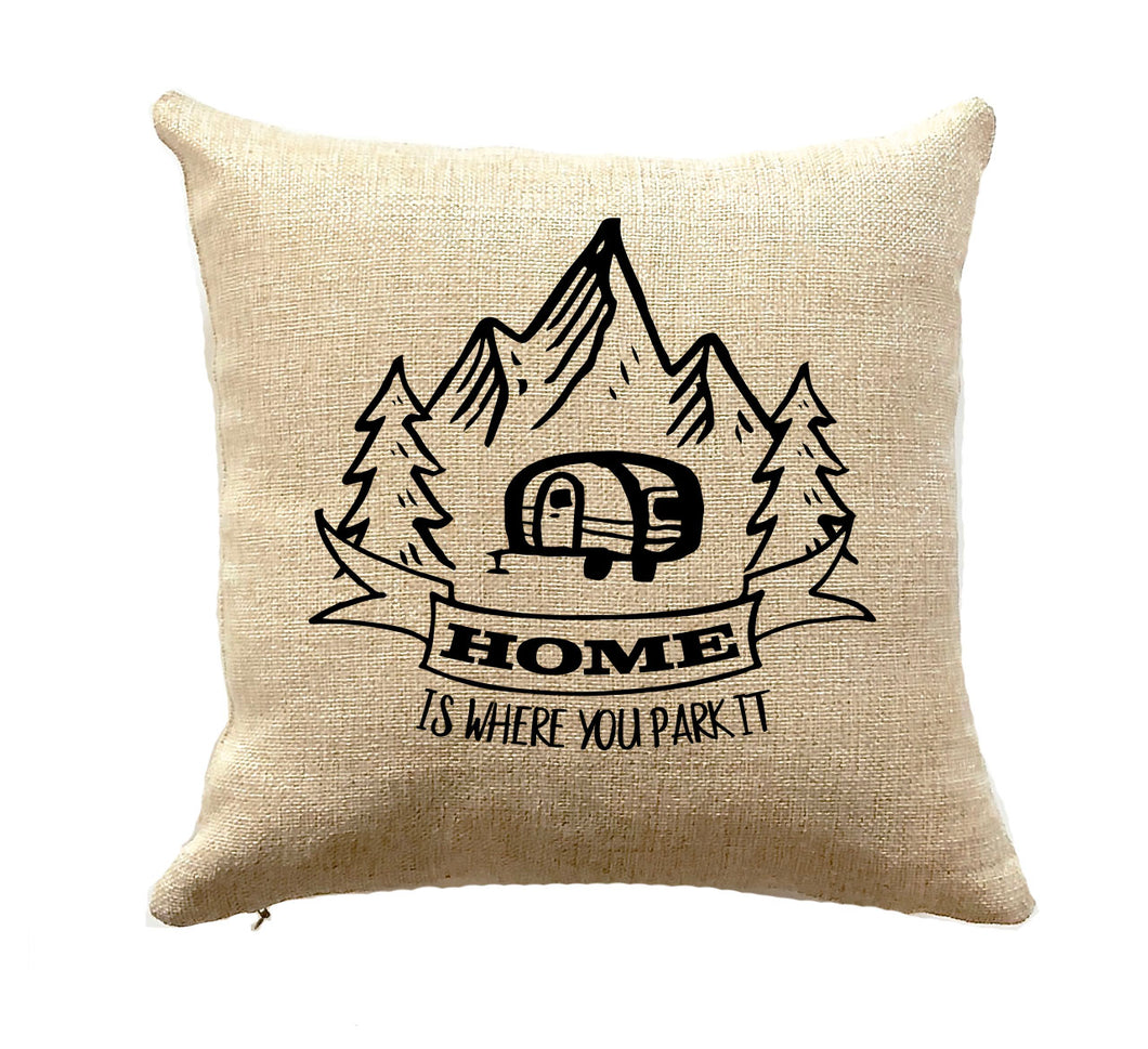 Camper Gift Home is Where You Park it Pillow RV Decor Travel Trailer