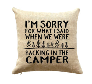 camper decor throw pillow sorry for what I said camping rv gift