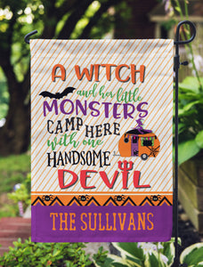 Halloween Campsite Flag for Campers Witch Monsters Devil