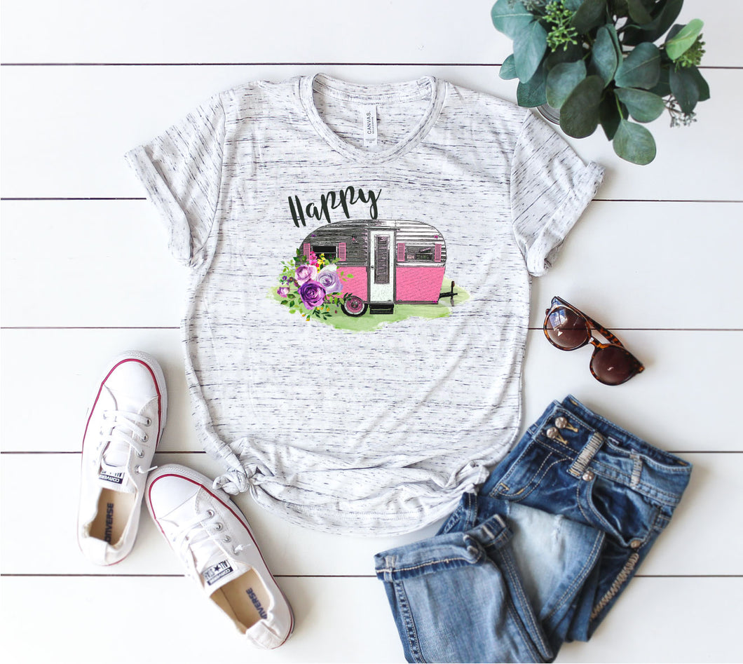 ladies camping t-shirt happy camper vintage pink trailer