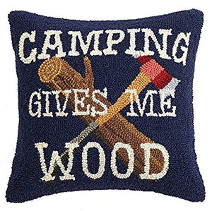 Blue wool pillow that says camping gives me wood 18 x 18