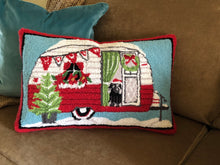 Wool pillow for Christmas with red vintage trailer design