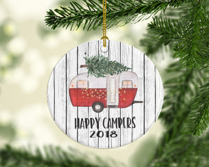happy campers 2018 Christmas ornament